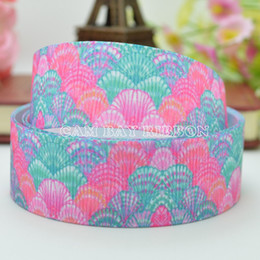 "Wholesale Animal Print Grosgrain Ribbon - NEW 7 8"" 22mm Animal Sea Shells Flower Print Grosgrain Ribbon Hair Bow DIY Handmade Sewing Ribbon Crafts Materials Garments Decorating Tape"