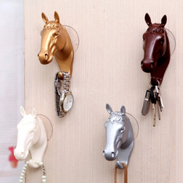 Wholesale Horse Hanger - Resin Animal Decorative Wall Hooks Fashion Horse Head Single Hanger Coat Hat Wall Robe Hanging Hook Home Decoration
