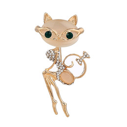 Wholesale Cat Eye White Stone - 2017 new Crystal Mosaic Sweet lovely cat eye stone brooch for women Jewelry top grade fashion clothes accessories wholesale free shipping