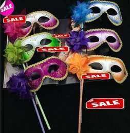 Wholesale Venice Masquerade Carnival - Venice masquerade feather flower women mask on stick Mardi Gras Costume Halloween Carnival Handle Stick party masks Christmas supplies