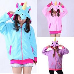 Wholesale polar pink - Anime Unicorn Hoodies Sky Horse Zip Hooded Sweatshirt Jacket Coats Polar Fleece Cosplay Costume Sweater OOA3162