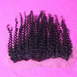 Wholesale Mongolian Kinky Curl Closure - 13*4 Mongolian Kinky Curly Hair Kinky Curl Lace Frontal Closure Mongolian Humen Hair Closure Full Lace Frontal Natural Color 1b