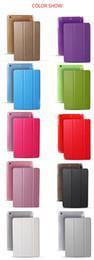 Wholesale Ipad Air Tri Fold Cover - Case for iPad mini 1 2 3 4, Tri-fold smart cover Color Ultra Slim PU Leather Transparent Back Case for iPad Air