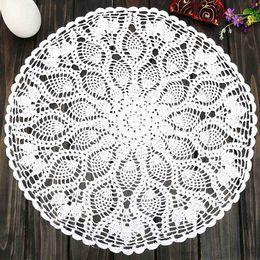 "Wholesale Knit Tablecloth - Wholesale- Vintage 23"" Round Cotton White Feather Hand Crochet Doilies Wedding Event Table Decor Doily Placemat Knit TableCloth"