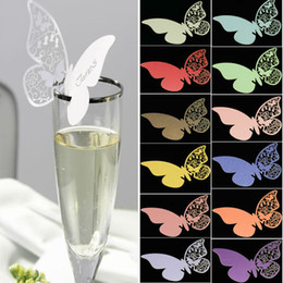 Wholesale Wedding Table Place Cards - Wholesale-50pcs set Wholesale Wedding Supplies Butterfly Name Place Card Holder Wedding Party Table Wine Glass Decoration Party Event