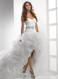 Wholesale High Low Sweetheart Corset Dress - Hi low Wedding Dresses 2016 Beach wedding dress Sweetheart Ruffled Beaded Sash Corset Back Bridal Gowns High Quality Custom made