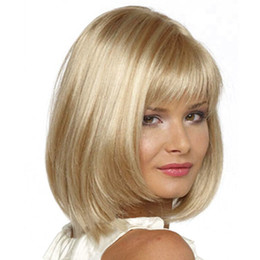 Wholesale Fashion Hair Styling - Wholesale-New Bobo Hair Style 14 inch Short Fiber Blonde Hair Cosplay Wig for Female Natural and Fashion