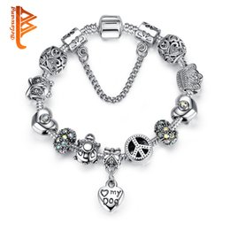 Wholesale Turtle Diy - BELAWANG Fashion Safety Chain Silver Plated Charms Bracelet with Pet Dog Heart Beads&Animal Owl Turtles DIY Bracelet for Women Jewelry Gift