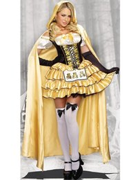 Wholesale Plus Size Halloween Cape - Women Wandering Soul in the Night Plus Size Halloween Costumes Woman Ghost Party Role Playing Witch Cape Yellow Dress Gloves