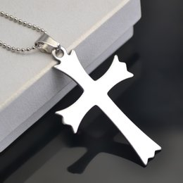 Wholesale Wholesale Custom Necklaces - Stainless Steel Custom Sports Religious Cross Ball Chain Choker Necklaces For Gifts Or Dailywear (A124682)20pcs lot