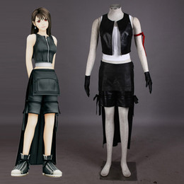 Wholesale Tifa Lockhart Costumes - Japanese Video Game PSP Final Fantasy 7 Tifa Lockhart Cosplay Costume fantasia Halloween costumes for women Plus Size Custom