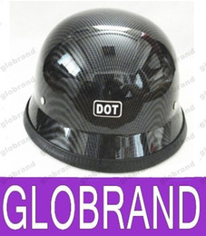 Wholesale Motorcycle Matt Black Helmet - German Style DOT Approved Half face Motorcycle Helmet military helmet Chopper Cruiser Carbon fiber Matt Black Chrome GLO482