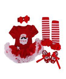 Wholesale Santa Claus Clothes Baby Suits - girls red christmas dress Children Clothes Baby Climb Santa Claus Suit Rompers Dress Set Newborn Children Cartoon Short Skirt