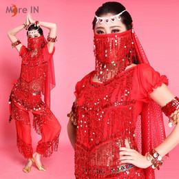 Wholesale New Belly Dance Shirt - 2015 New hot belly dancing costume performance Short sleeved shirt & pants Standard design Red  Yellow  Green  Rose red wholesaler MB006