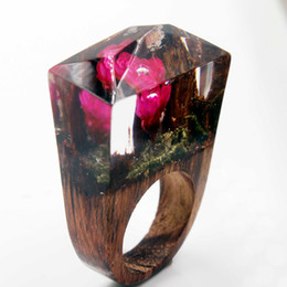 Wholesale Red Blossom Sales - Hot sale New Design Red Dried Flower Blossom Rings For Women Men Vintage Handmade DIY Wood Resin Wedding Ring Jewelry Dropshipping