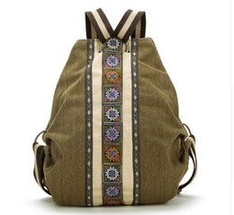Wholesale High School Tie - High Quality sac a dos Ethnic Vintage Canvas Backpacks for Women Embroidered Rucksack Drawstring Bag School Travel Boho Mochila