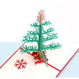 Wholesale Handmade Snowflake - Free Shipping Merry Christmas Snowflake Tree 3D Paper Cut Handmade Greeting Cards For Christmas Gifts Event Party