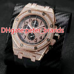 Wholesale Mens Black Leather Band Watch - Full iced out quartz watch full works mens watches brand luxury wristwatch black brown  leather band stainless steel OS chronograph watch