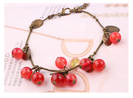 Wholesale Glasses For Sweets - Fashion bracelets glass Restore ancient ways small sweet cherry bracelet Tassel hand string bracelets for women charm cord bracelets