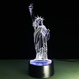 Wholesale Statue Battery - 2017 Statue of Liberty 3D Optical Illusion Lamp Night Light DC 5V USB Charging AA Battery Wholesale Dropshipping Free Shipping