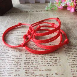 Wholesale String Kabbalah Lucky Bracelet - Wholesale-Kabbalah Lucky Bracelet Red Rope Bangle Wax Cord String Line Classic Handmade Jewelry