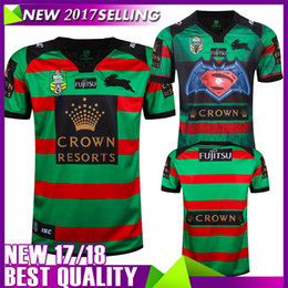 Wholesale Superman Batman Tops - In stocks 2017 South Sydney Rabbitohs 2RD Batman v Superman rugby jerseys rugby shirts Men shirts top quality shirts
