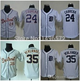 Wholesale Kids Shirt Tiger - 2015 New Kids Detroit Tigers Jerseys 35 Justin Verlander 24 Miguel Cabrera Shirts White Grey Cool Stitched Kid Baseball Jersey Embroidery