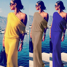 Wholesale sexy womens dress suits - 2016 Frivolous Solid Color Sexy Wryshoulder Irregular Suit-dress European Fashion Sandy Beach Evening Dress Longuette Dresses For Womens