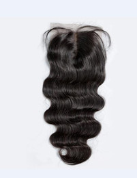 Wholesale Tangle Free Weave Cheap - Cheap Luxury 7A Brazilian 4*4 Body Wave Loose Wave Straight Hair Lace closure No Shedding Free Tangle Full And Thick Free Shipping Fee