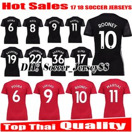 Wholesale Girls Grey Tops - 2017 2018 Women Top thai quality 17 18 black Man UNITED girl IBRAHIMOVIC Soccer Jersey POGBA ROONEY MARTIAL MEMPHIS jerseys Football shirts