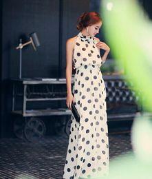 Wholesale Tying Stand - 2016 Summer Dress Women Floral Boho Tie Dye Beach Dress Chiffon Tall waist sexy neck wave dot Long Sleeves