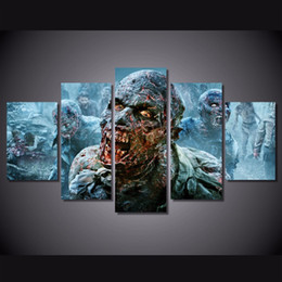 Wholesale Zombie Posters - 5 Piece HD Printed the walking dead zombies Painting Canvas Print room decor print poster picture canvas Free shipping