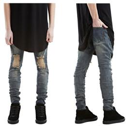 Wholesale Mens Black Spandex Pants - Wholesale-High quality fashion Mens Stretch Ripped hole Biker Jeans Skinny Stretch Retro Designer Brand Hip Hop Swag Denim Joggers Pants