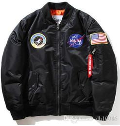 Wholesale Thin Waist Men - Thin Mens MA1 Bomber Jacket USAF Kanye West Hip Hop Male Windbreaker Jacket Flag Mens Nasa Jacket