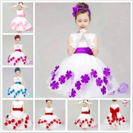 Wholesale Pageant Movie - Children dress baby girls dresses pageant Princess dress new flower girl dress kids wedding prom party 3-10 T free shipping DK5013CR