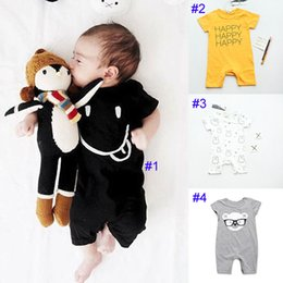 Wholesale Smile Letters - Baby boy girl INS emoji Smiling face rompers Children ins cartoon rabbit Letters cotton Short sleeve rompers baby clothes B001