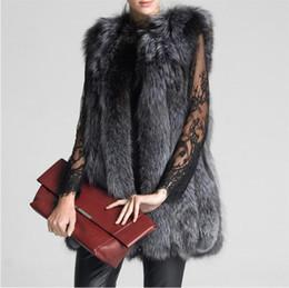 Wholesale Imitation Fur Coats - Faux Silver Fox Fur Vest Coat Women Thick Warm Fashion Winter Clothing Faux Fur Vest Long Coat Imitation Coat Plus Size 6XL