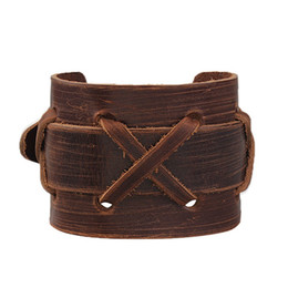Wholesale Roping Belt Buckles - Wholesale- Hot Sale Fashion Vintage Double Layers Cross Rope Real Leather Bracelets Men Wide Punk Single Belt Buckle Cuff Bracelets Bangles