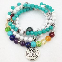 Wholesale Turquoise Bracelet For Parties - SN0194 Wholesale 6mm Aquamarine Natural White Turquoise With 8mm Chakra Beads Bracelet 4 Wrap OM Charm Jewelry For Women