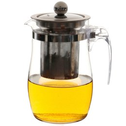 Wholesale Glass Teapot Strainer - 2016 High Standard 950 750 350ml Thick Filtering Strainer Lid Stainless Steel Filter Glass Teapot For Green Flower Black Tea