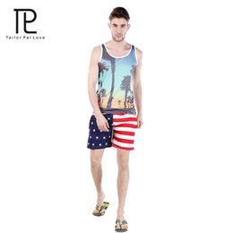 Wholesale Swims Usa - Wholesale-Tailo Pal Love Usa Flag Shorts For Mens Surf Boardshort Custom Swim Trunks Sport Wear American Flag quick drying Shorts