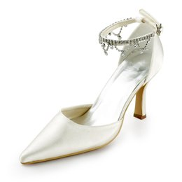 Wholesale Girls Dress Shoes Rhinestones - 2017 New Point Toe With Ankle Trim Bridal Dress Shoes Wedding Shoes Bridemaid Shoes Flower Girl Shoes Wedding Dress Shoes Size from 35--41