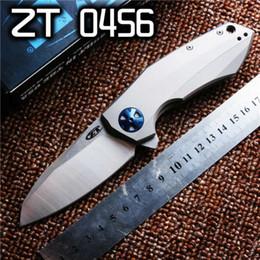 Wholesale High Quality Tactical Knives - ZT Zero Tolerance 0456 ZT0456 100% real D2 TC4 titanium alloy High Quality ZT Folding Knife 1pcs freeshipping