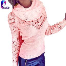 Wholesale Hot Pink Knit Scarf - Wholesale-Hot!New sweater winter pullover 2016 spring autumn women's scarf collar Pierced Metal decoration Knitted sweaters women poncho