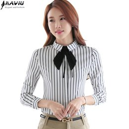 Wholesale Career Wear Tops - OL career shirt female long-sleeve black white stripe fashion elegant slim bow tie blouse work wear formal office plus size tops
