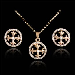 Wholesale Silver Cross Earrings Pendant - Party Accessories Wedding Jewelry Sets For Women Crystal Round Cross Pendant Necklace Earrings Sets Fashion Jewelry