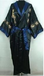2019 cinghie di ricamo all'ingrosso All'ingrosso-reversibile uomini cinesi tradizionali seta Rayon Robe Two-Side Kimono Gown ricamo drago Sleepwear con cintura One Size MR089 sconti cinghie di ricamo all'ingrosso