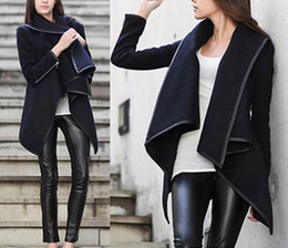 Wholesale Design Jacket For Women - 2016 Hot Style Slender Wool Loog Sleeve Black Coat Edirregularge Of Lapel Neck Jacket Coat Design For Women
