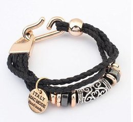 Wholesale Rope Studs - Fashion new Punk Gothic Rock Leather Rivet Stud Spike Bracelet Cuff Bangle Wristband for women and men