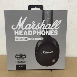 Wholesale Box Studios - Marshall Monitor Wireless Headphones Noise Cancelling Headset Deep Bass Studio Monitor Rock DJ headphone Earphone with mic retail Box
